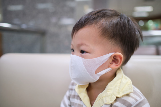 Asian 2 3 Years Old Toddler Boy Child Wearing Protective Medical Mask Concept Coronavirus Quarantines Air Pollution Pm2 5 Concept 83369 219